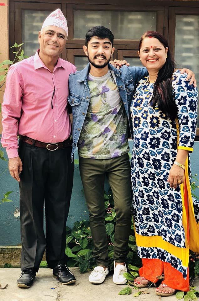 Nishan Bhattarai with his Parents