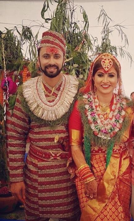 Nisha Ahikari with Husband Sharad Vesawkar