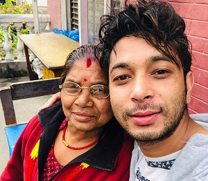 Utsav with his mother