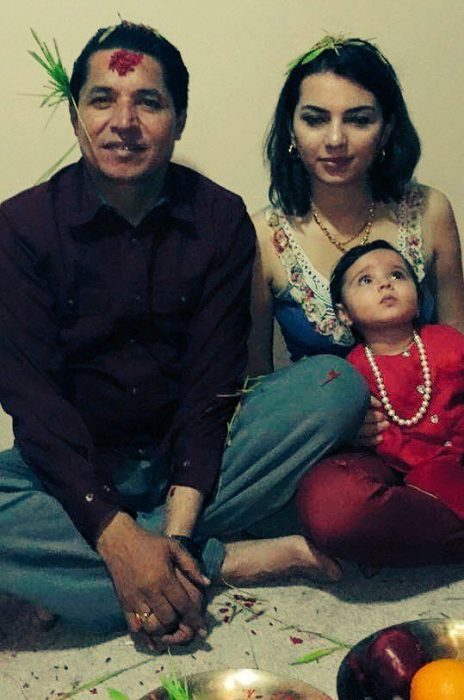 Rishi dhamala with his wife Aliza Gautam and Children