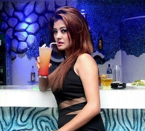 Sushma Karki in a bar