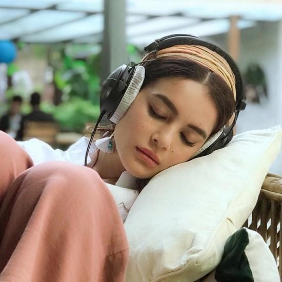 Shrishti Shrestha listening to music