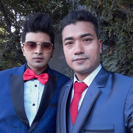 Sahin Prajapati with co-actor Kusal Bista
