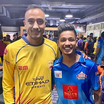 Sandeep Lamichhane with Paras Khadka
