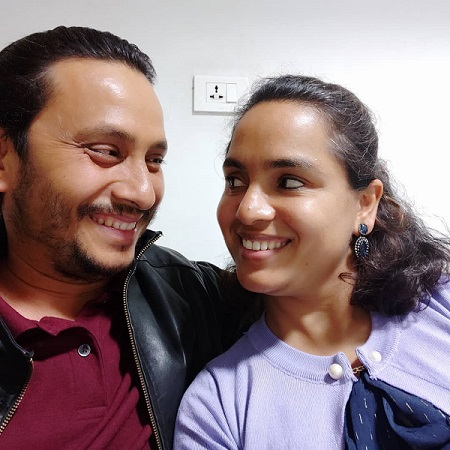 khagendra Lamichhane with his wife