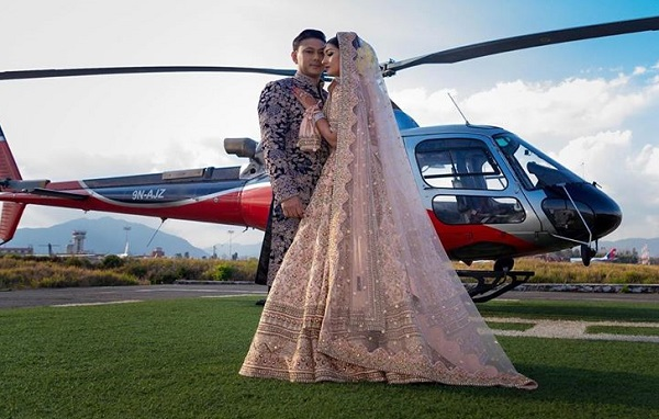Aanchal Sharma and Udip Shrestha marriage with helicopter