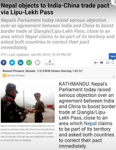 Nepal objects to India China Agreement