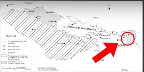Map of Nepal before Sugauli Sandhi Nepal India border issue 1